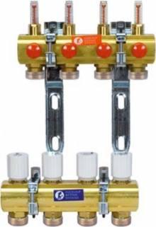 """Produktbild: Fußbodenheizungsverteiler mit Durchflussmengenmesser 1""""x3/4"""" 2-fach"""