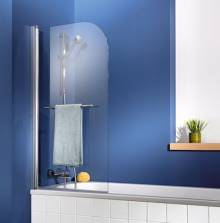 Produktbild: Exklusiv Badewannenaufsatz 1-teilig 75 cm inkl. Handtuchhalter chrom-optik