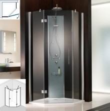 Produktbild: HSK Duschkabine Atelier Fünfeckdusche 3-teilig, Echtglas, CHROM-OPTIK, 90