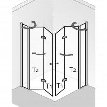 Produktbild: HSK Duschkabine Exklusiv Eckeinstieg mit Drehfalttür an Nebenteil, Echtglas, ALU SILBER-MATT, L90 x R90