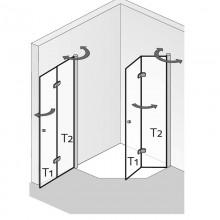 Produktbild: HSK Duschkabine Exklusiv Fünfeckdusche mit Drehfaltentür, Echtglas, ALU SILBER-MATT, 90