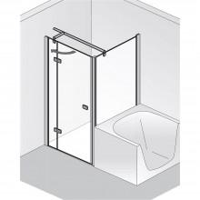 Produktbild: HSK Duschkabine Premium Softcube VERKÜRZTE SEITENWAND (für Drehtür), Echtglas, Chromoptik, Breite 75 x Höhe 178