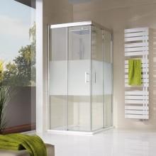 Produktbild: HSK Duschkabine Solida Gleittür Eckeinstieg bodenfrei, 4-teilig, Echtglas, Alu silber-matt - L80 x R80
