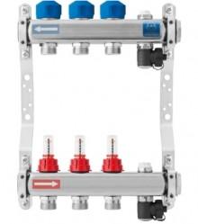 Produktbild: KAN-therm Heizkreisverteiler, Edelstahl 3-fach, M30 x 1.5, mit Durchflussanz.