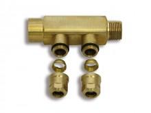 "Produktbild: ROTH CC Compact Unterverteiler 2fach 95 mm, 1 x 1/2""IG, 1 x 1/2""AG"