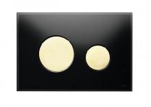 Produktbild: TECEloop Glas WC-Betätigungsplatte 2-Mengen-Sp., Glas schwarz Taste gold