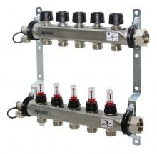Produktbild: Uponor Edelstahlverteiler Vario S  ST LS 4X   mit Regulierschraube im Vorlauf