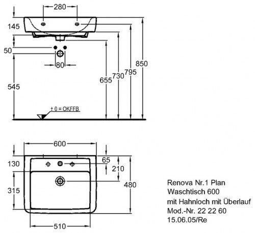 renova nr 1 plan waschtisch 600 x 480 mm mit hahnloch und berlauf weiss 222260 keramag. Black Bedroom Furniture Sets. Home Design Ideas